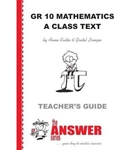 Picture of The Answer Series GR 10 MATHS A Class Text TG CAPS
